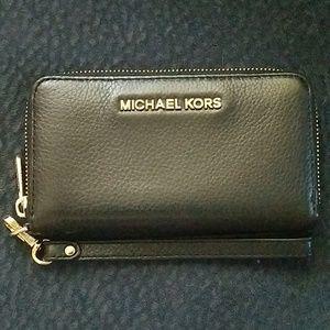 Michael Kors soft leather wrap around zipper